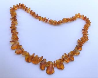 """GENUINE Baltic Amber ADULT Necklace - Honey Baltic Amber Beads- (19"""") - pain relief & anti-inflammatory"""