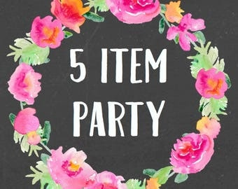 5 Item Party For Any Theme In My Shop (Includes an additional Free bonus sign)