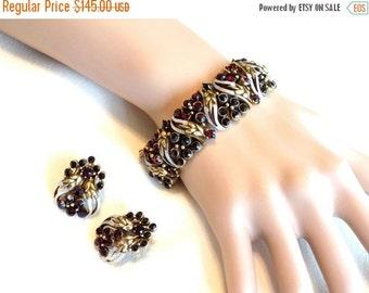 Vintage Florenza Bracelet & Earring Set, Black and Red Rhinestones, Link Style Bracelet, Clip Earrings, Signed