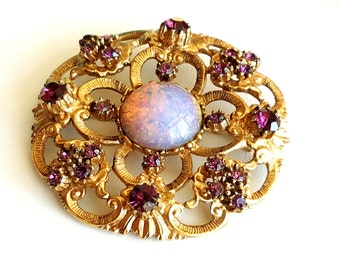 Vintage Faux Opal and Amethyst Rhinestone Brooch