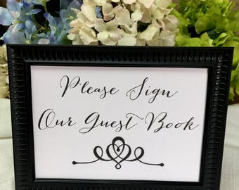 Guest Book Sign with Frame, Please Sign Our Guest Book, Wedding Guest Book Sign, Event Guest Book Sign, Shower Guest Book Sign