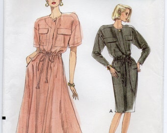 Dress With Dropped Shoulders Blouson Bodice Concealed Button Closing Drawstring Waist Plus Size 14 16 18 Sewing Pattern Very Easy Vogue 7714