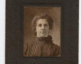 Miniature Cabinet Card Victorian Woman Studio Portrait Antique Photo Black And White Photograph Vintage Fashion