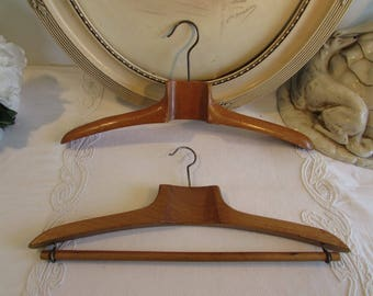 Antique / vintage French pair of wooden coat hangers.  Country cottage chic