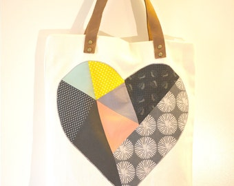 Heart patchwork organic cotton Tote Bag with leather handles - pop of color, eco-friendly