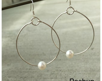 Seashell Jewelry ... Simple White Freshwater Pearl Hoop Earrings (1480)