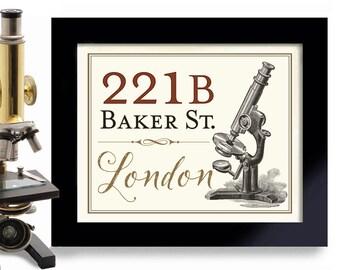 Sherlock Holmes, 221B Baker Street, Sherlocked, Geekery, London England, Science Art, Microscope Art Print