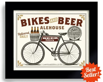 Beer Art Bicycle Art Bar Gift Beer Mans Gift Art Bike Art Beer Sign Beer Keg Beer Bottle Cycling Art Beer Gift Beer Tap Bar Decor Beer Keg