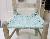 Vintage Shabby Child Children Kid Chair Woven Seat Farmhouse Chic Prairie Primitive