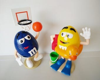 two M&M  candy dispenser, basketball ball basket, summer Toys, Collectors toys,  m and m candy dispenser,  promotional toys,