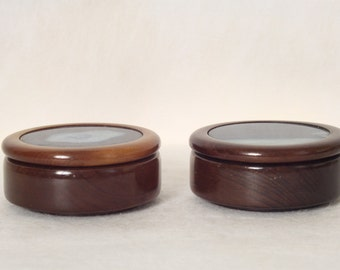 WoodenVintage Geode Box Jewelry or Trinket Boxes with Polished Brazilian Agate Lids Pair of Round Wood Boxes Desktop Storage Box