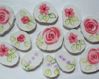 Mosaic Tiles - Pink Flowers China Flowers