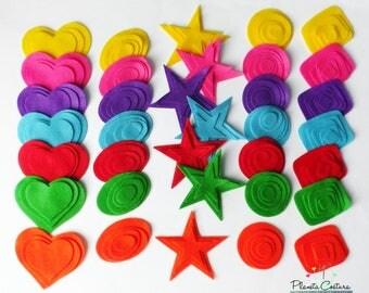 Felt Shapes, Felt hearts, Felt Circles, felt star, felt square, 140 pieces, felt die cut, felt supplies for crafts, felt, felt mixed pack