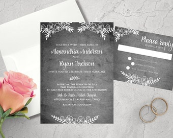 Wedding Invitation Set - Printed Wedding Invitation - Wedding Invitation & Response Card - 5x7 - Rustic Floral - Wedding Invitation Suite