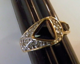 Faux Onyx and Diamond Ring.  Art Deco Style.