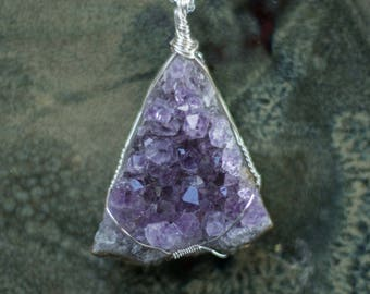 """Wire Wrapped Amethyst Cluster on a Silver Plated 24"""" Chain"""