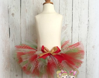 Christmas Tutu - Red and green tutu - Baby's First Christmas tutu - Baby Girl tutu - Super fluffy tutu