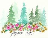 Watercolor Christmas Greeting, Original painting, joyeux noel, french, christmas tree art, floral art, watercolor flowers, watercolor trees