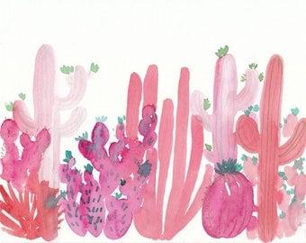 Pink Watercolor Cactus, 8x10, original artwork, cactus painting, coral, hot pink, cacti, watercolor art, succulent painting, pink cactus