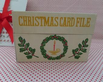 Vintage Christmas Card File Box -- Organization Aid -- Record Keeping