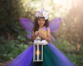 Purple Fairy Costume - Girls Fairy Dress - Woodland Fairy - Fairy Outfit - Fairy wings - Fairy Tutu Dress - Purple Fairy Crown