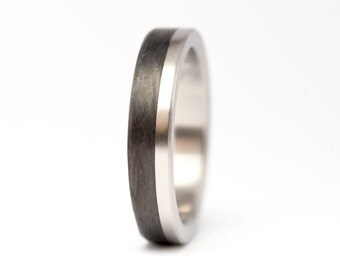 Women's titanium and carbon fiber ring. Unique black engagement ring.  Very resistant and hypoallergenic (00309_4N)