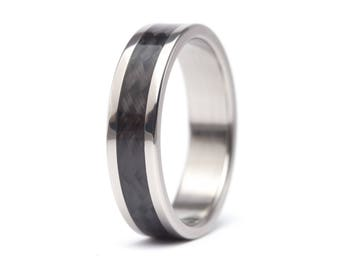 Men's titanium and carbon fiber woven at 45º ring . Unique and industrial black wedding band. Water resistant hypoallergenic. (00335_7N)