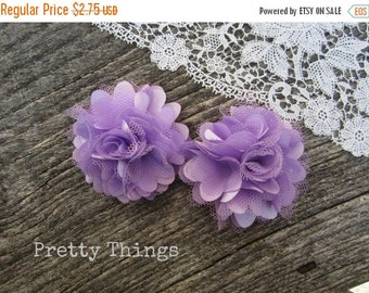 Sale LILAC Satin and Tulle Flowers. Mini Satin Flowers. Tulle Flowers. -- 2 pcs. GIOVANNA Collection.