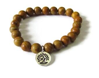 Family Tree  Tigerskin Jasper Bracelet - Men or Women bead bracelet - Genuine stones