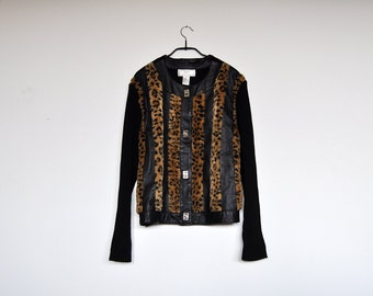 Vintage Animal Print Jacket Black Leather and Faux Fur Knit Cardigan Sweater