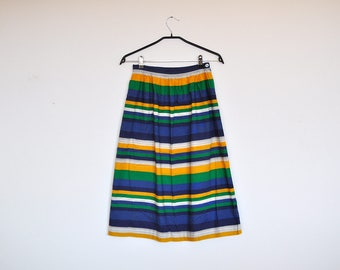 Vintage Cotton High Waist Multicolor Stripes Mini Skirt