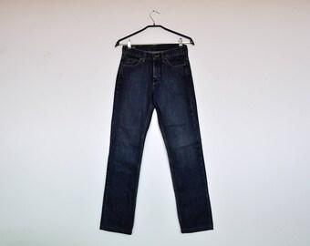 Vintage 90s Lee Jeans Dark Wash Denim Dungarees Unisex Boyfriend Fit Jeans Size 27/33
