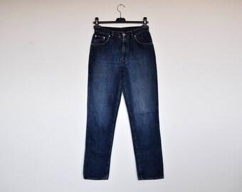 Vintage Calvin Klein High Waisted Dark Blue Denim Pants Grunge Boyfriend Tapered Leg Faded Jeans