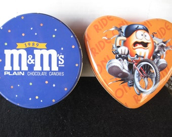 Two Vintage Collectible M&M candy tins -COLORFUL