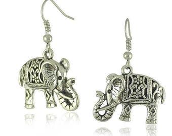 Pair of Handmade Antique Silver Filigree 3D Elephant Earrings, Bohemian Earrings, Animal Earrings 19x26mm