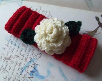 Handmade Crochet Ear Warmer For Babies. Red Crochet Ear Warmer. Baby Ear Warmer.
