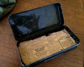 Vintage Antique Black Tin Sewing Machine Attachments