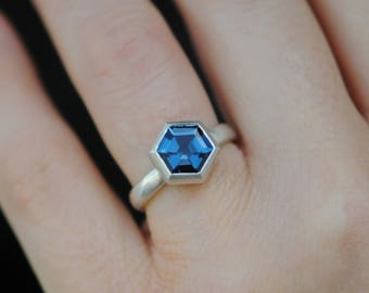 Hexagonal Blue Topaz Ring -  London Blue Topaz Ring - Hexagonal London Blue Topaz Ring - Hexagonal Blue Gemstone Ring - Made to Order