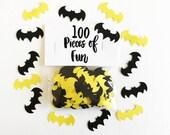 Batman confetti, batman, batman party, batman birthday, superhero party, batman decorations, batman table, bats, yellow and black batman
