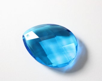 Pendant London Blue Quartz Faceted Flat Teardrop, Large Pendant Quartz Glass, Ready to Ship