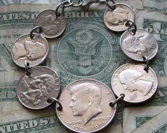 Coin bracelet, coin jewelry, coin jewellery, coin jewlery, made of genuine U.S. nickels dimes quarters and half dollar coins.