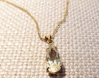 Vintage Citrine  Glass Pendant on 12Kt Gold Filled Chain.