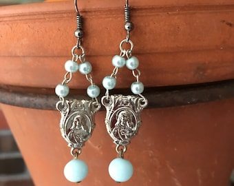 Upcycled Sacred Heart III Religious Medal Rosary Chandelier Earrings (On Sale 8.00)