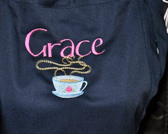 Custom Aprons, Embroidered Apron, Custom Apron with Embroidered Design, Chef Apron, Monogrammed Aprons, Coffee Cup Apron