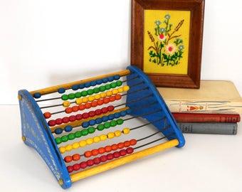 Vintage Playskool Abacus Toy- Primary Colors- Kid Room Decor