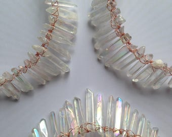 Healing Crystals Crown, Mermaid Crown, Angel Aura, Titanium Coated Clear Crystal, Festival fashion, Alt Wedding, brides,