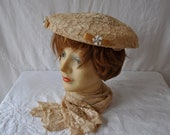 RED HOT SALE Blush Lace Dish Saucer Hat/Vintage 1950s/New Look Dior Style Formal Hat/Easter Bonnet/Wedding Party