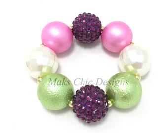 Toddler or Girls Plum, Ivory and Lime Green Chunky Bracelet - Spring Chunky Bracelet - Girls Fairy Chunky Bracelet - Flower Girl Bracelet