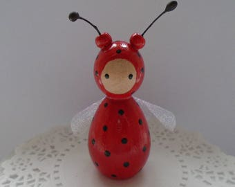 Hand Painted Wooden Bug Peg Doll - Red