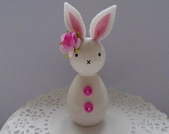 Hand Painted Wooden Bunny Peg Doll